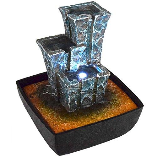 Agora-Tec tempelartiger Zimmerbrunnen Stonehenge mit LED Beleuchtung