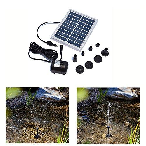 Decdeal 9V 2W Solar Teichpumpe Bürstenlose Solar-Brunnen Wasserpumpe mit Solarpanel  - 3