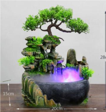 Springbrunnen Zimmerbrunnen Gartenbrunnen Brunnen LED Beleuchtung Grüne Pflanze