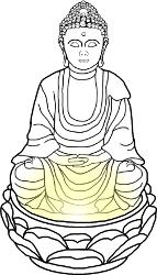 Zimmerbrunnen Buddha mit Figur und Wasserlauf beleuchtet