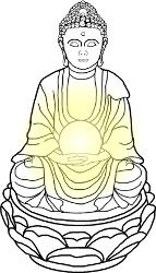 Zimmerbrunnen Buddha mit Figur, Wasserlauf und Kugel beleuchtet